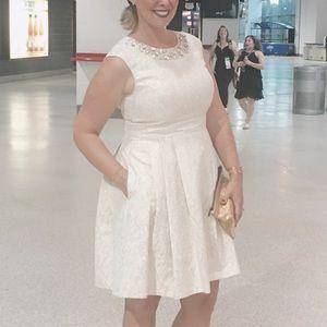 Eliza J Dresses - Eliza J gold brocade/crystal fit & flare dress 14